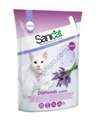Sanicat Diamonds - силиконова котешка тоалетна с аромат на лавандула 15 литра