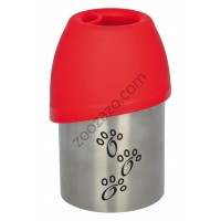 Trixie Bottle with Bowl - метална бутилка с купичка за вода 300 мл.