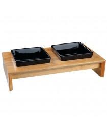 Trixie - Bowl Set - две керамични купички с дървена стойка 2 х 200 мл. / 28 / 5 / 15 см.
