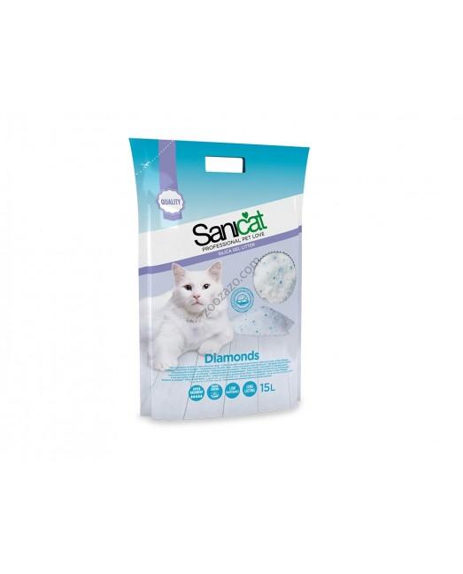 Sanicat Diamonds Natural - силиконова котешка тоалетна 15 литра / 7.1 кг. / 0