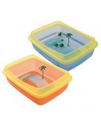 Ferplast - пластмасов аквариум за костенурки /оранжев,син/ 47 / 36 / 15,5 cм.