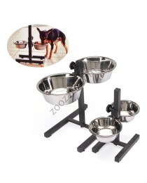 Camon Bowl stand with two steel bowls - регулируема стойка с две метални купи 900 мл.
